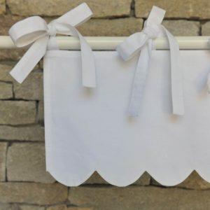 cantonnière festonnée coton blanc campagne