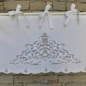 cantonnière brodée coton blanc
