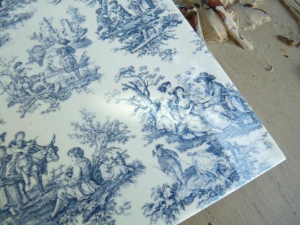 carrelage imprim toile de jouy bleue