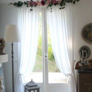 cantonnière rideaux guirlandine shabby roses et pivoines