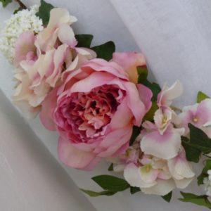 Embrasse rideau florale Pivoine Hortensias et Viorne