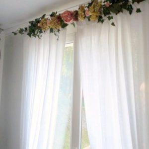 cantonnière rideau guirlandine pivoines et hortensias