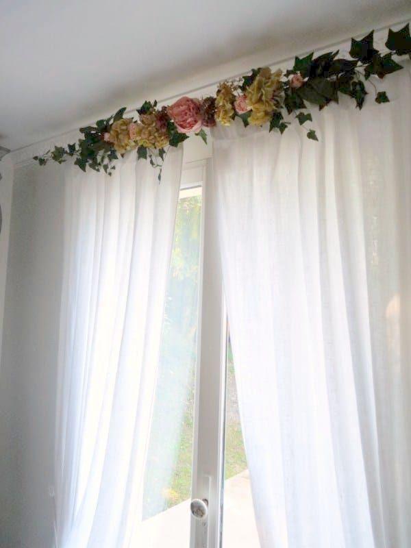 cantonnière rideaux guirlandine pivoine et hortensias