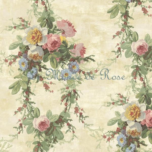 papier peint mod le guirlande de roses shabby 1 le monde de rose. Black Bedroom Furniture Sets. Home Design Ideas