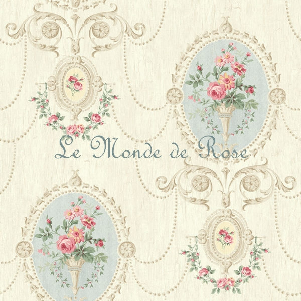 papier peint mod le m daillon de roses shabby bleu le monde de rose. Black Bedroom Furniture Sets. Home Design Ideas