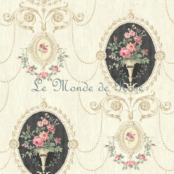 papier peint mod le m daillon de roses shabby noir le. Black Bedroom Furniture Sets. Home Design Ideas