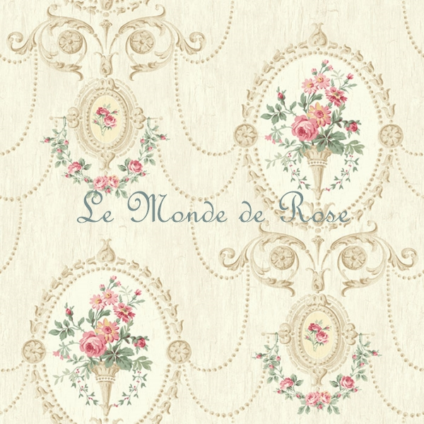 papier peint mod le m daillon de roses shabby beige le monde de rose. Black Bedroom Furniture Sets. Home Design Ideas