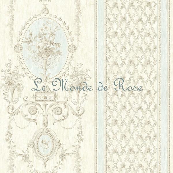 papier peint mod le m daillon de roses shabby beige bordures bleues le monde de rose. Black Bedroom Furniture Sets. Home Design Ideas
