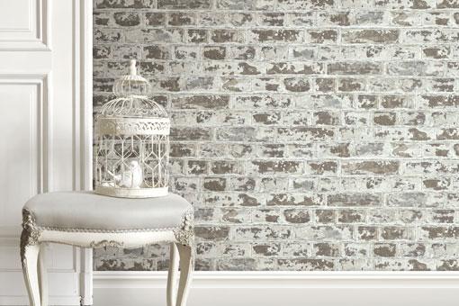 papier peint style industriel briques couleur grise le. Black Bedroom Furniture Sets. Home Design Ideas