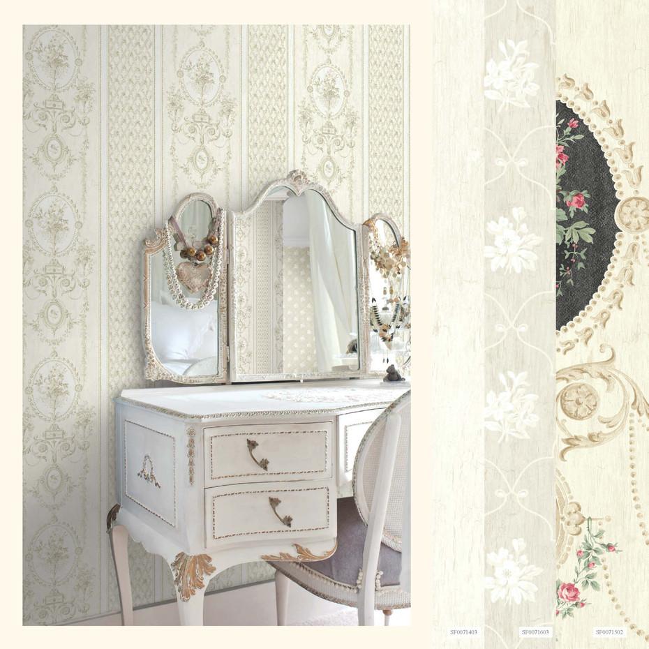 papier peint modele m daillon de roses shabby beige bordures le monde de rose. Black Bedroom Furniture Sets. Home Design Ideas