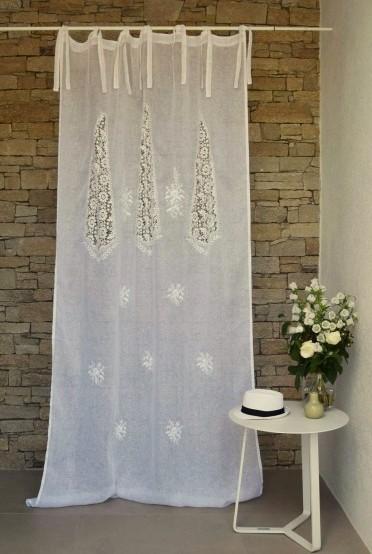 Rideau voile de lin blanc mod le nantes le monde de rose - Rideau voile de lin ...