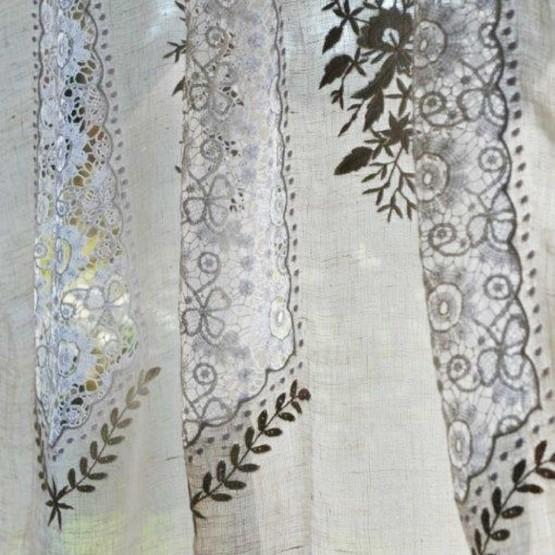 rideau voile de lin gris mod le nantes le monde de rose. Black Bedroom Furniture Sets. Home Design Ideas