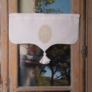 Cantonnière sur-mesure en lin blanc Modèle MARGUERITE