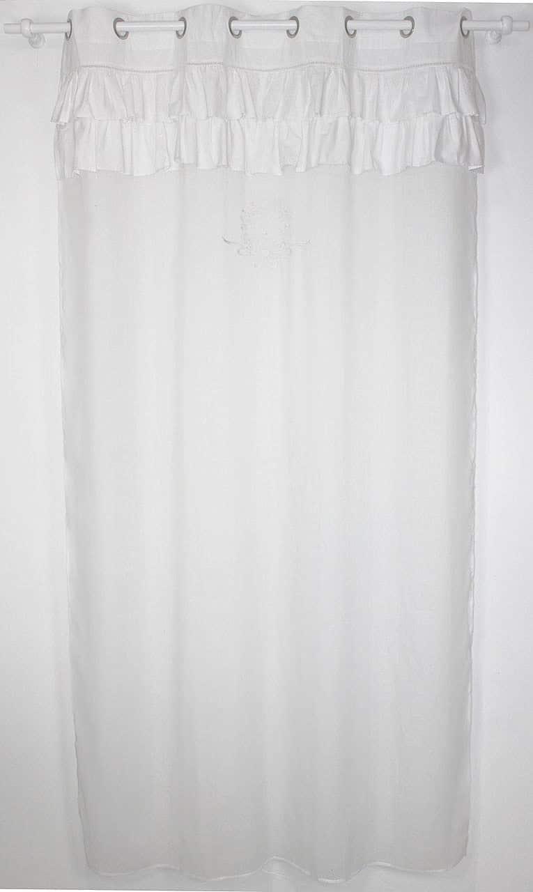 rideau voilage mod le shabby frou frou blanc le monde de rose. Black Bedroom Furniture Sets. Home Design Ideas