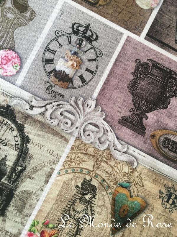 tissu mod le tiquettes anciennes le monde de rose. Black Bedroom Furniture Sets. Home Design Ideas