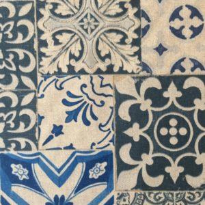 Tissu MODÈLE CARREAUX CIMENT BLEU largeur 280 cm