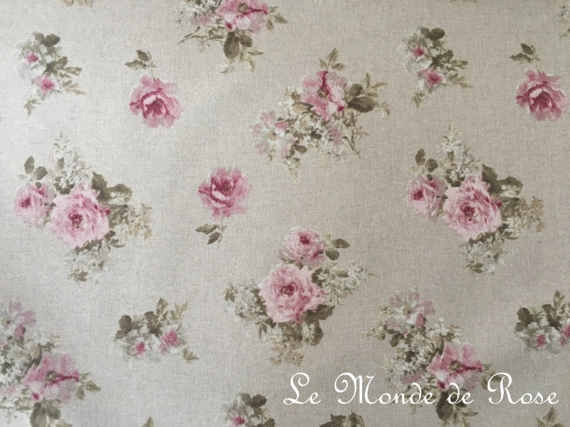 tissu mod le shabby lin petites fleurs largeur 280 cm le monde de rose. Black Bedroom Furniture Sets. Home Design Ideas