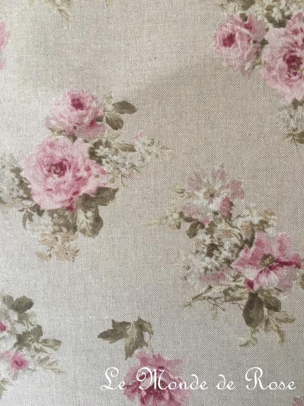 tissu mod le shabby lin petites fleurs largeur 280 cm le monde de rose. Black Bedroom Furniture Sets. Home Design Ideas