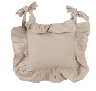 Housse de coussin de chaise volant beige le monde de rose for Housse de volant chauffante
