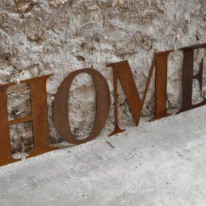 Mot HOME Lettres rouillées
