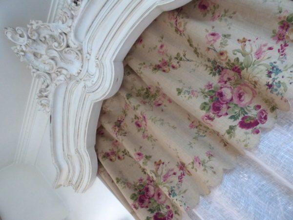 Rideau festonné Campagne Roses Anciennes