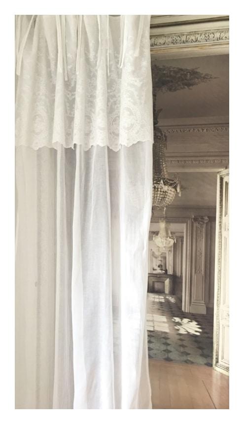 rideau blanc mod le cheverny 140 x 260 cm le monde de rose. Black Bedroom Furniture Sets. Home Design Ideas
