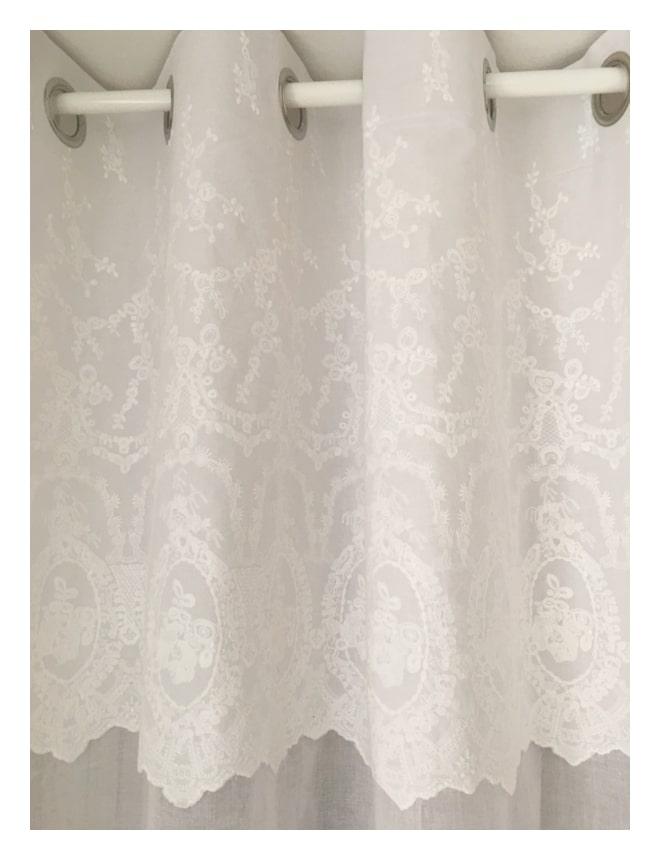 rideau blanc mod le cheverny illets 140 x 260 cm le monde de rose. Black Bedroom Furniture Sets. Home Design Ideas