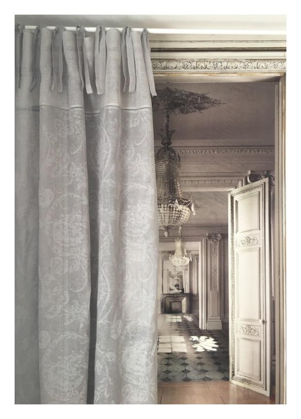 Rideau lin gris mod le mozart 135 x 300 cm le monde de rose - Rideaux 300 cm ...