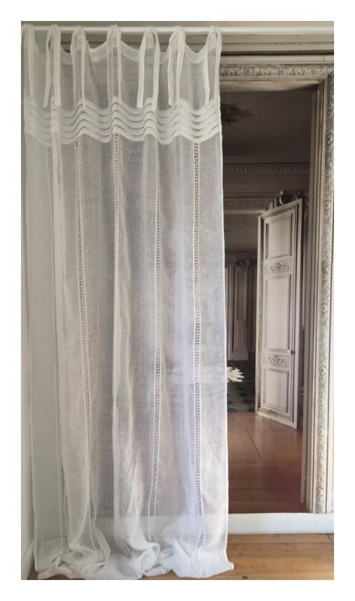 Rideau en lin blanc Modèle LEONIE 140 x 280 cm
