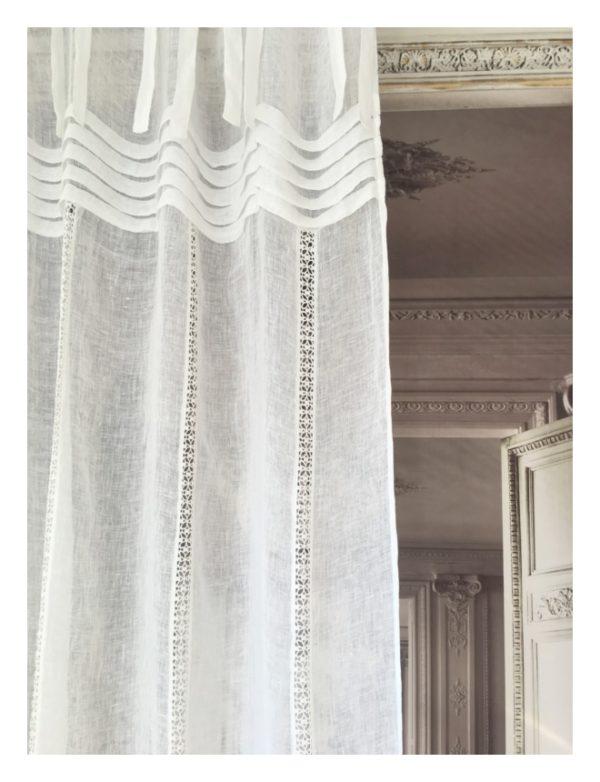 Rideau en lin blanc Modèle LEONIE