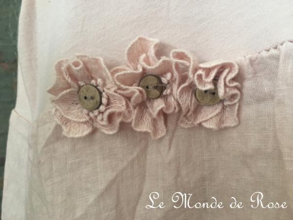 Robe lin et coton SHABBY CHIC ROSE PÂLE - Le Monde de Rose