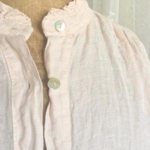 Robe tunique en lin ROSE col mao à volants