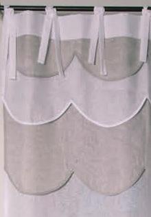 Rideau lin blanc et beige Modèle PÂQUERETTE