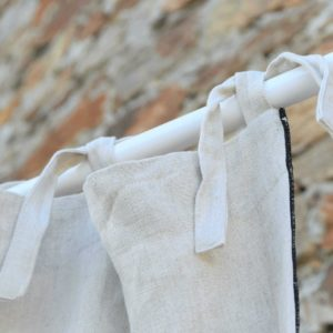 Rideau en lin lavé ÉPAIS naturel bourdon noir