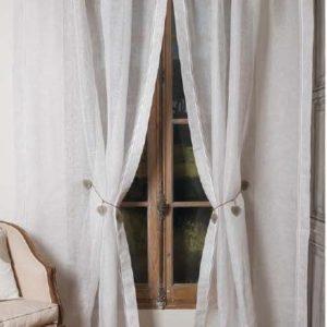 Rideau lin blanc et beige Modèle AMBRE
