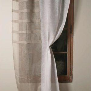 Rideau voile de lin blanc et beige Modèle IRIS