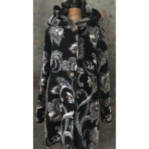 Manteau laine bouillie FLEURI