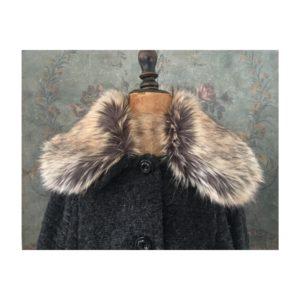 Manteau laine bouillie & fausse fourrure