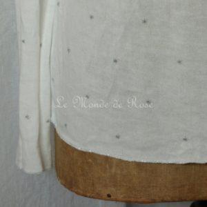 Pull blanc ETOILES argentées