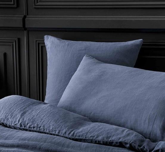 housse de couette lin stone washed bleu nuit le monde de rose. Black Bedroom Furniture Sets. Home Design Ideas
