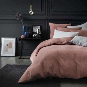 Housse de couette lin stone washed ROSE MASALA