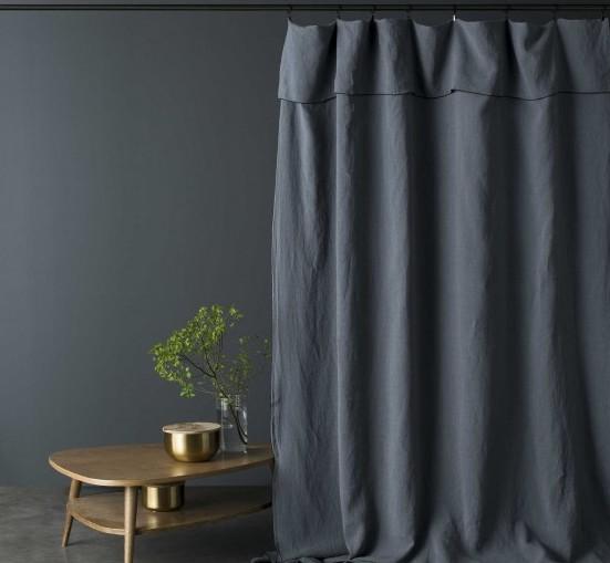 Rideau lin lavé BLEU NUIT bourdon noir 160x270cm