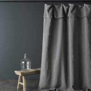 Rideau lin lavé GRIS SOURIS bourdon noir 160x270cm