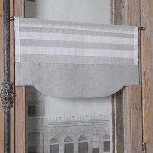 Cantonnière en organdi blanc et lin gris Modèle LUCE