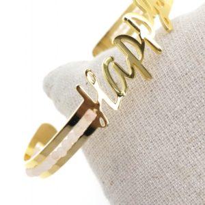 Bracelet jonc & perles HAPPY doré