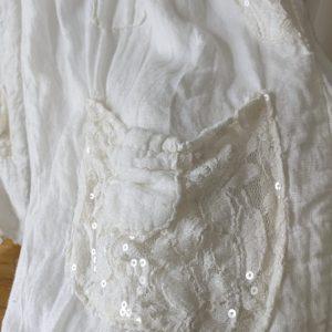 Pantalon LIN blanc dentelle et sequins