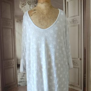 Pull long gris POIS BLANCS