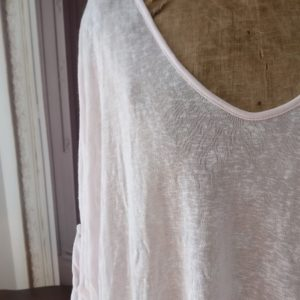 Pull long rose POIS BLANCS