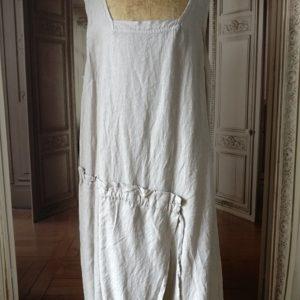 Robe LIN beige grisé