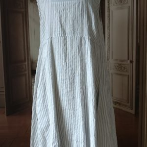 Robe LIN gris et rayures blanches